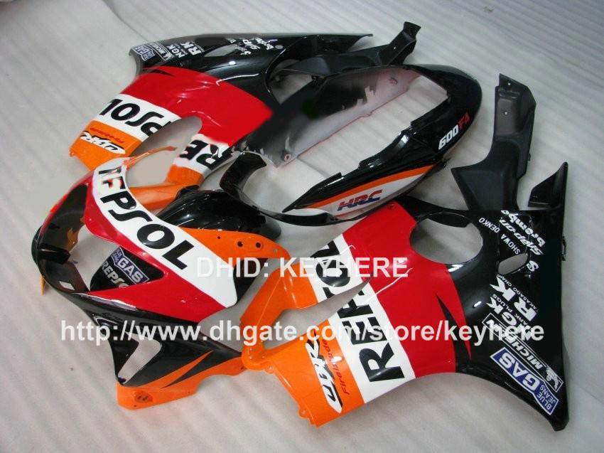 Kit carena da gara personalizzato HONDA CBR 600 1999 00 CBR600 1999 2000 F4 99 carene carrozzeria carrozzeria set aftermarket arancione rosso REPSOL G3b