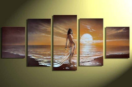 Wholesale Women Nude Paint - Hand-painted Hi-Q modern home decorative abstract woman figure oil-painting--Golden sunset beach beautiful nude girl 5pcs set framed