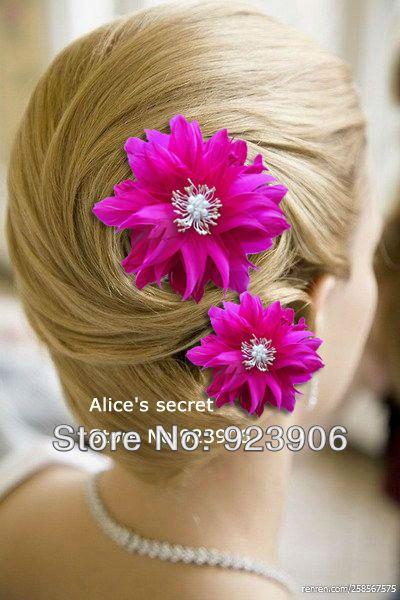 4e26a60e3b04 Hot Pink Flower Feather Bridal Hair Accessories