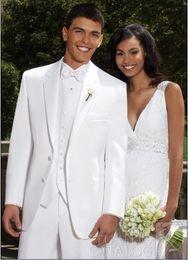 $enCountryForm.capitalKeyWord NZ - Custom Made White Two Buttons Groom Tuxedos Best Man Notch Lapel Groomsmen Men Wedding Suits Bridegroom (Jacket+Pants+Tie+Vest) H667