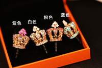 Wholesale Diamond Crown Plug Phone - Fashion imperial crown Diamond Phone Accessories Anti-Dust Plug Ear Cap for 3.5mm