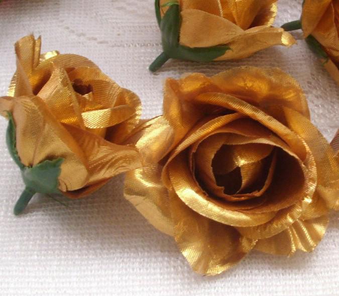 Brons / gouden kleur goud toon 50 stks diameter 7-8 cm kunstmatige zijde camellia rose stof camellia bloemhoofden