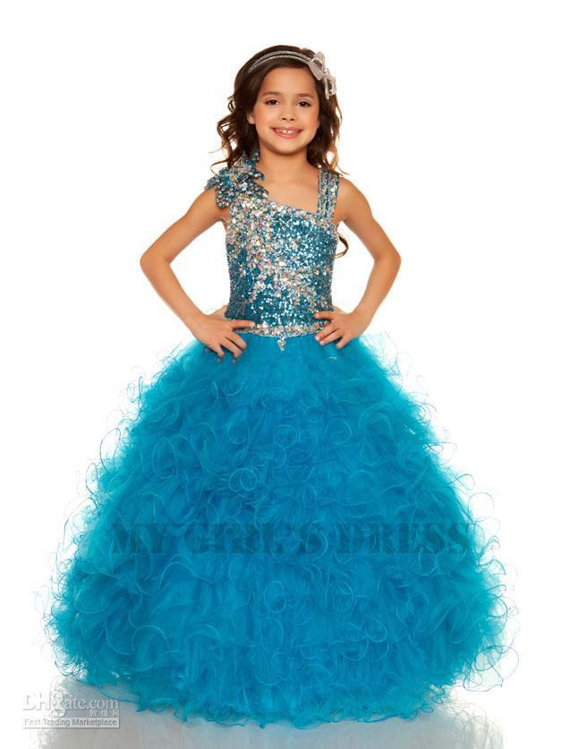 New Bule Sparkle Beaded Halter Ball Gown Girl Pageant Formal Dance ...