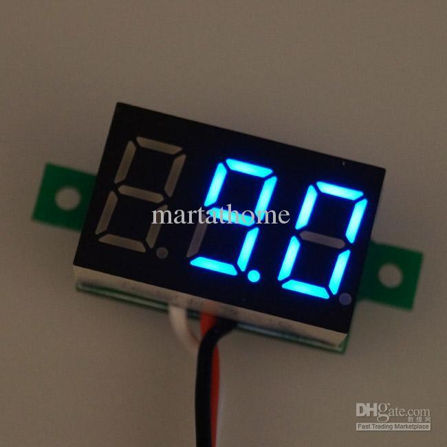 / Bleu DC 0 ~ 100 V 3-fils Numérique Voltmètre Volt Panneau Compteur Protection D'inversion # BV190 @SD