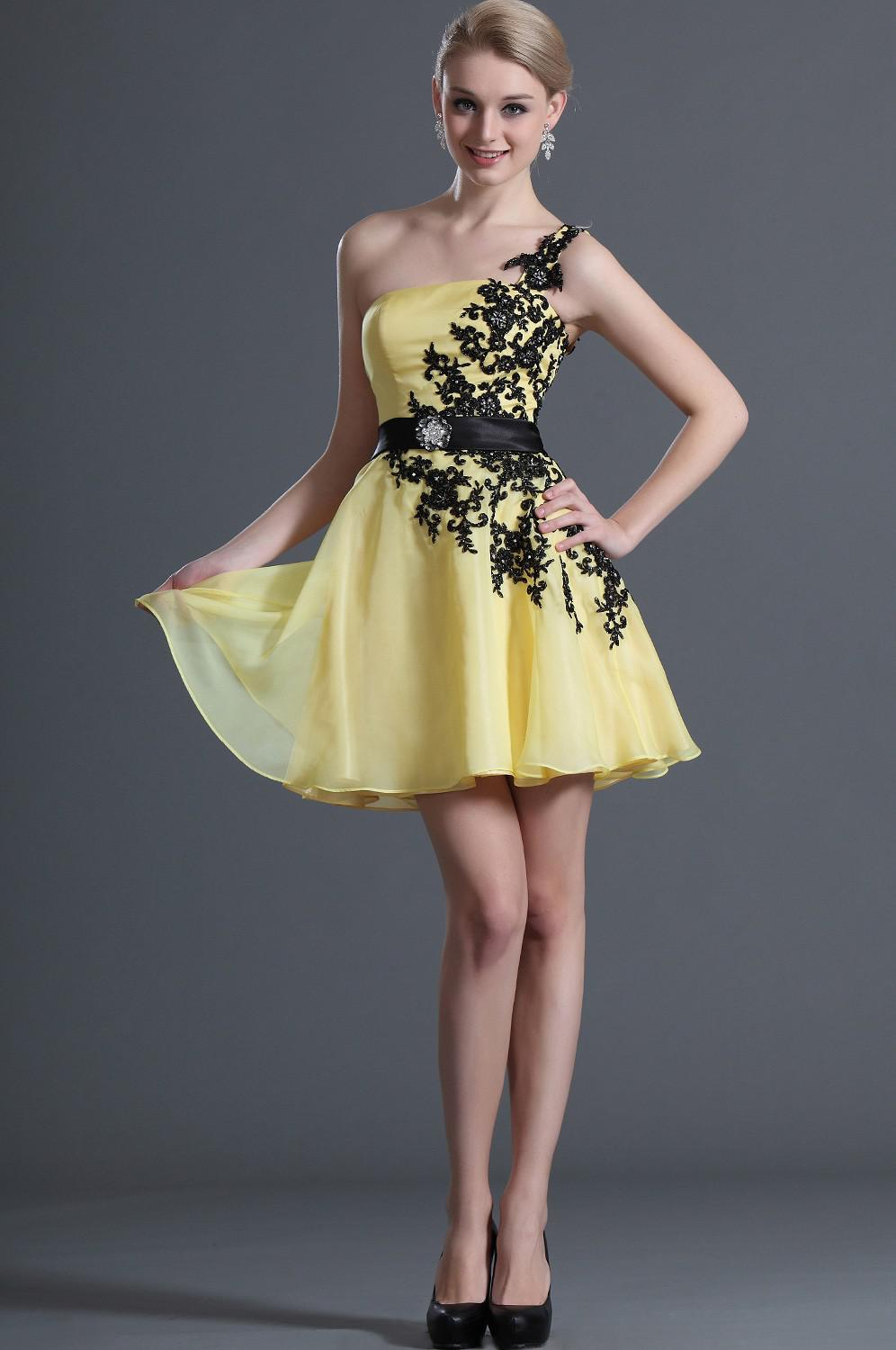 Black and yellow evening dress