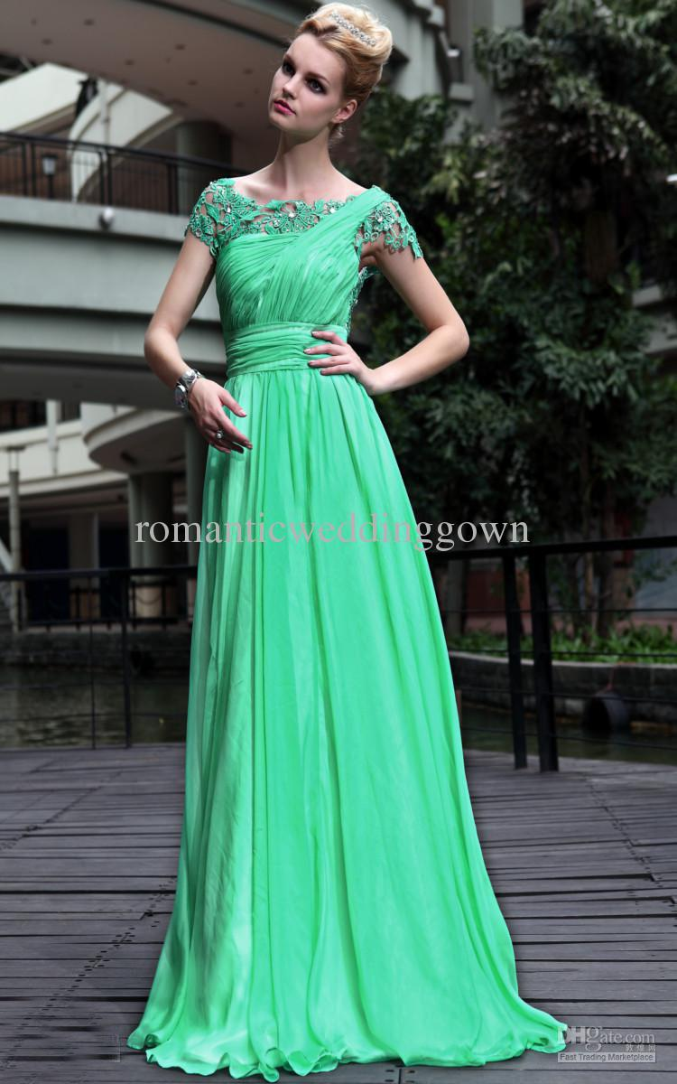 Beautiful Charming Green A Line Lace Formal Evening Dresses Cap ...