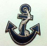 patchs d'ancrage achat en gros de-En gros ~ 10 Pièces Anchor Bleu Or (5 x 6.5cm) Enfants Patch Brodé Fer Sur Applique Patch Punk Patch