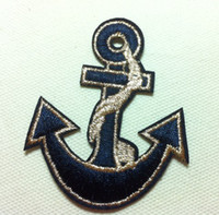 Wholesale Embroidered Anchor Patch - Wholesales~10 Pieces Blue Gold Anchor (5 x 6.5cm) Kids Patch Embroidered Iron On Applique Patch Punk Patch