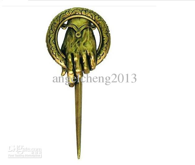vintage Retro Game OF throne King of the hands of ancient bronze brooch assorted .