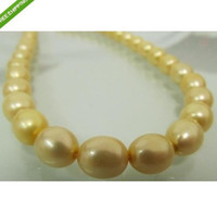 Wholesale Huge Golden South Sea Pearls - HUGE 9-11MM AAA++SOUTH SEA GOLDEN PEARL NECKLACE 18