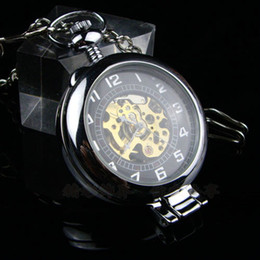 Wholesale Wholesale Skeleton Pocket Watch - 6pcs Unique Steampunk Magnifying Glass Transparent Skeleton Pocket Watch Bronze Silver Black Platform Men Mechanical Clock Fob Watches Chain