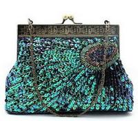 evening clutch bags großhandel-Handgefertigte Pailletten Perlen Pfau Clutch, Abendtasche, Party Tasche, kostenloser Versand