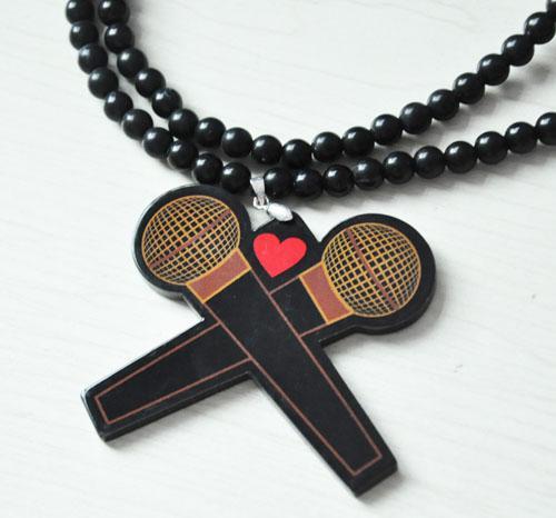 Goede kwaliteit HIP-HOP DISCO MICPHONE Hangers Geen Hout Rosary Acrylic Bead Kettingen 36