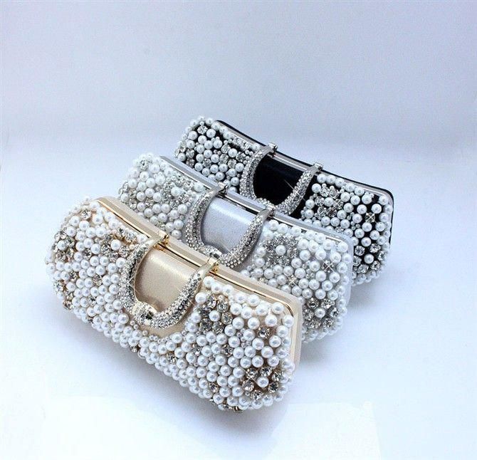 Women Crystal Pearl Evening Bags,Ladies Clutches,Women's Wedding ...