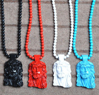 Wholesale Shipping Nyc - Good Wood NYC Hot Sell Popular Hip Hop necklace Jesus goodwood acrylic Bead Necklace 36inch Free Shipping