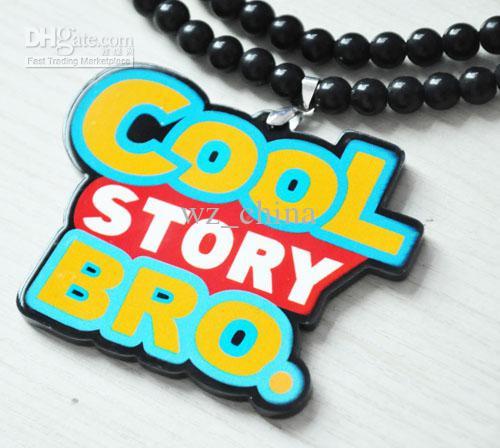 """5 pcs Hip-Hop """"Cool Story BRO"""" Pingente de Acrílico Rosário Contas do grânulo Colar Boa madeira 2 Cores"""