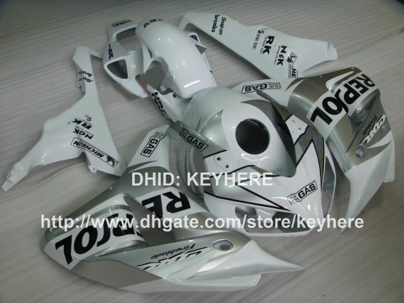 Kit de carénage en plastique ABS pour HONDA CBR1000RR 06 07 CBR 1000RR 2006 2007 pièces de carénage pièces de carrosserie pièces de rechange argent REPSOL G2a