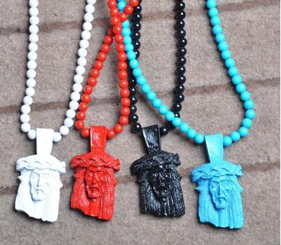 Nouveaux Hommes De Bonne Qualité Hip-Hop Acrylique Jesus Pendentifs Chapelet Colliers De Perles 36