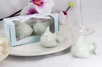 Wholesale Kissing Fish Shaker - Free Shipping Wedding Gifts 30pcs=15set=1lot Ceramic Kissing Fish Salt or Pepper Shaker wedding Favors