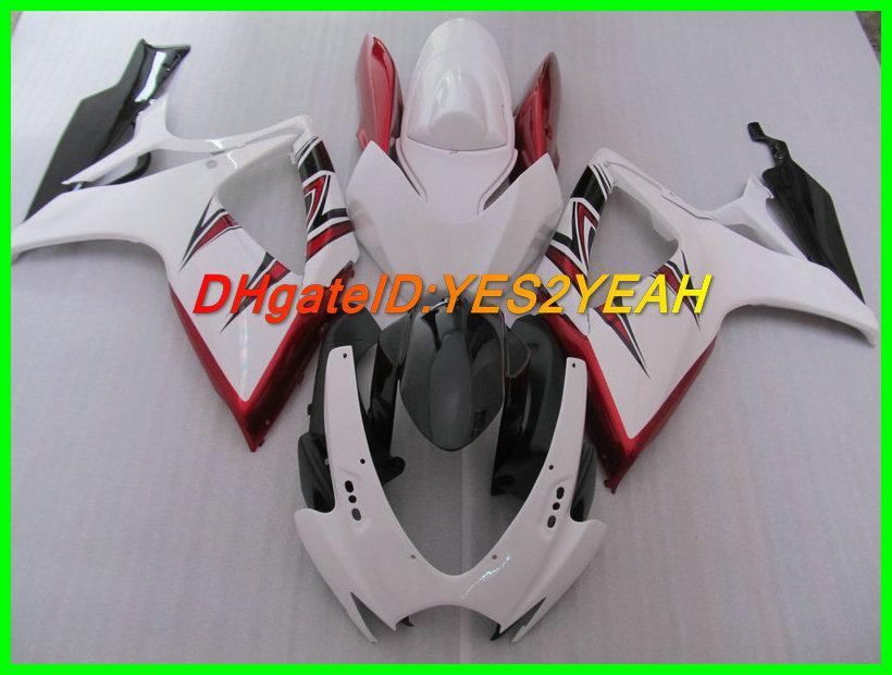 Branco Kit de carroçaria Red Carenagem para SUZUKI GSXR 600 750 06 07 K6 Carroçaria GSXR600 GSXR750 2006 2007 Carenagens