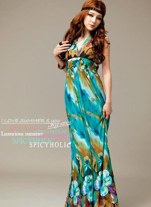 2013 Beach Party Dresses Peacock Flowers Halter Bohemian Printed ...