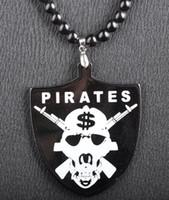 Wholesale Good Wood Necklace Skull - PIRATES $$ Skull Pendant Acrylic Good Wood NYC Hip-Hop Necklace Black Freeshipping