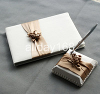 Wholesale Design Wedding Guest Book - Wedding Party Accessories Supplies Compact champagne little flower design Wedding Guestbook Pen