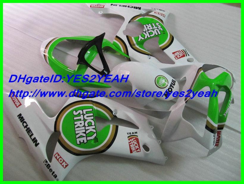 Kit de revestimento de molde de injeção Para KAWASAKI Ninja ZX6R 03 04 ZX-6R 636 ZX 6R 2003 2004 Verde branco conjunto de Carenagens + 7gifts