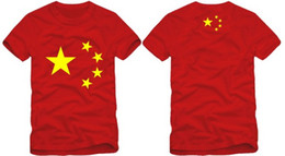 Wholesale China Man T Shirt - Free shipping new arrival fashion short sleeve Chinese national flag T-Shirt china flag t shirt five star printed t-shirt 100% cotton