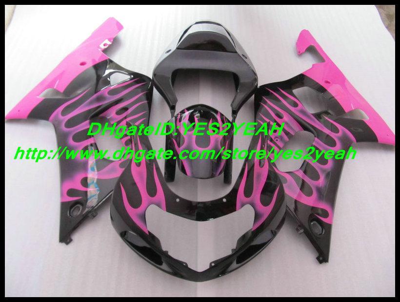 Juego de carenado Pink Flames para SUZUKI GSXR 600 750 GSX-R 600 2001 2002 2003 GSXR600 GSXR750 01 02 03 K1 Carenados K90