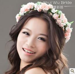 Wholesale Silk Ribbon Dance - The water dance bride flower headdress encryption ribbon seaside garland bracelet