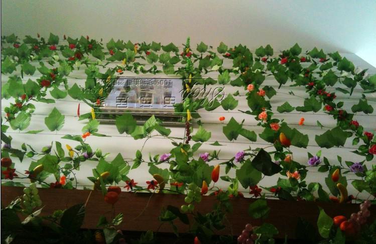 2.4 M longo Simulação de Verde Artificial Escalada Videiras de Folhas de Uva para Festa de Decoração Para Casa de Parede frete grátis