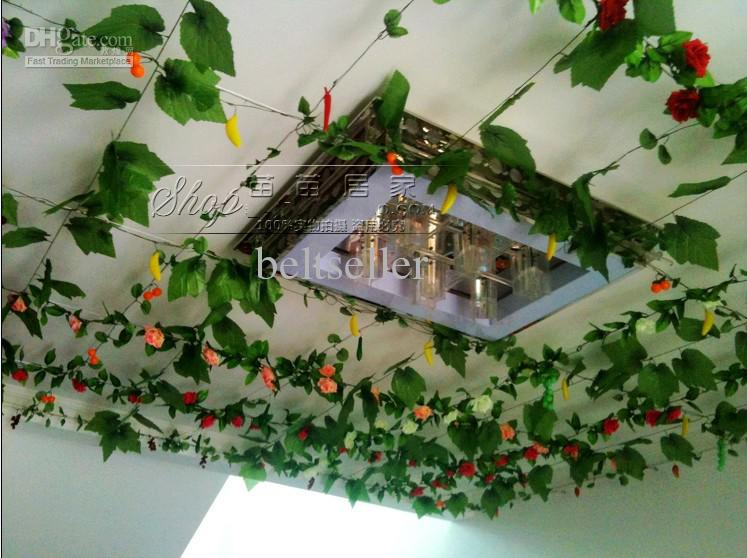 2.4M long Simulation of Artificial Green Climbing Vines of Grape Leaves for Party Home Wall Decor
