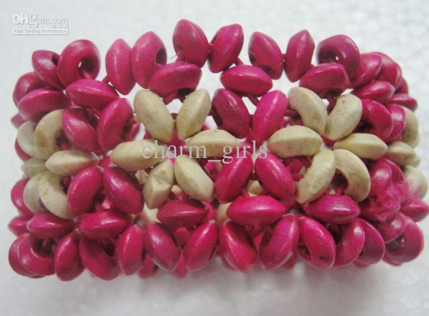 Precio más bajo es perlas pulsera de madera natural de madera Elasticidad pulsera de la joyería de moda /
