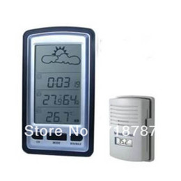 Wholesale Weather Station Temperature Sensor - Wireless LCD Weather Station outdoor and indoor Temperature Sensor 100M Clock Free Shipping
