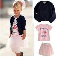 Wholesale Girls Pcs Dress Jacket - Hot Sale 5set lot children clothing set 3 pcs suit girl's Cardigan jacket coat + shirts + tutu skirts dress whole suits outfit Free shipping