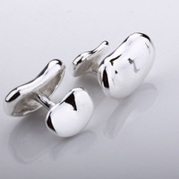 Wholesale Sterling Silver Tie Clips - Free Shipping Worldwide! 925 Sterling silver Fashion Jewelrys Bean Design Cufflinks C20 NEW STYLE CHRISTMAS GIFT