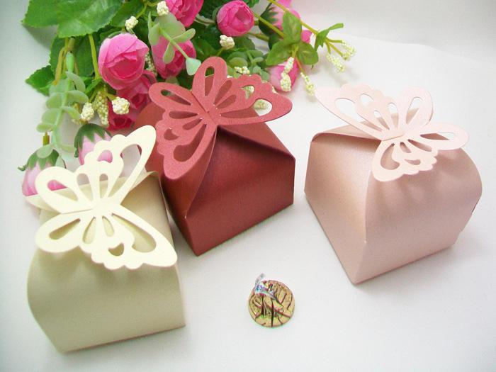 New Angel Butterfly Candy Box boîtes de cadeau de faveur de mariage rose / Ivoire / rouge profond