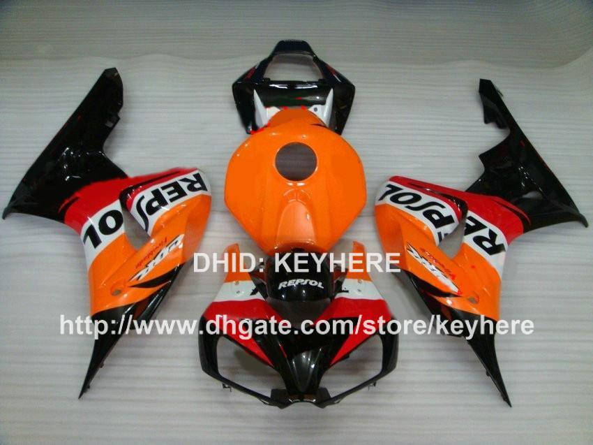Kit de carenagem de corrida personalizado para HONDA CBR1000RR 06 07 CBR 1000RR 2006 2007 carenagem corpo da motocicleta trabalho aftermarket hot slae laranja REPSOL Ga
