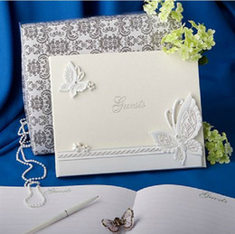 Wholesale White Guest Books - Kissbridal New Wedding Ceremony Accessories Wedding Favors Party Supplies Beautiful Noble Resin Butterfly White Wedding Guest Books XF141