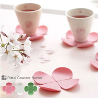 Wholesale Tea Cups Felt - wedding valentine innovative item party desk decoration flower silicone mat mug tea cup pad heat insulation petal felt coaster