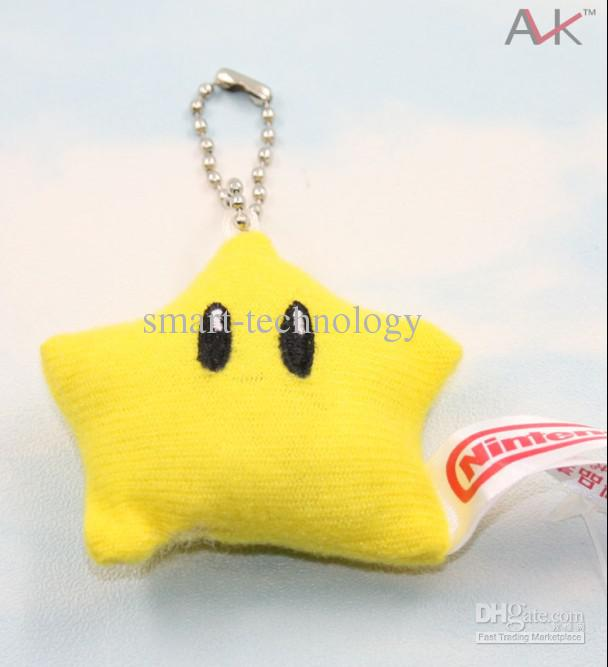 "100/Lot Super Mario Bross 2"" star yellow Figure Keychain Plush Soft (2.5inch)"