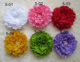 Wholesale Large Baby Hair Flowers - 5.3inch 6Colors Lace large peony flowers Children's Hair Accessories baby Girls Flower Clip