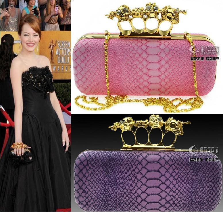1c313ed8dbf4 Sexy Noble Luxury Women Formal Clutch Skull Knuckle Evening Bag Chain  Handbag Shoulder Cross Body Bag Rings Drill Party Purse Pink Purple