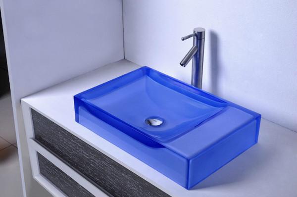 CUPC Certificate Bathroom Resin Rectangular Counter Top Sink Colored Cloakroom Wash Basin Bathroom Vessel Sinks RS38247