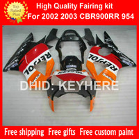 Wholesale Honda 954rr Repsol - ABS Plastic fairing kit for HONDA CBR900RR 2002 2003 CBR900RR 954 02 03 954RR 02 03 fairings bodywork set aftermarket orange REPSOL red G7a
