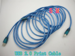 Wholesale Printer Usb 5m - USB 2.0 Printer Cable For Printer connecting PC Data connect blue Print line 5M High quality Free shipping 10pcs up