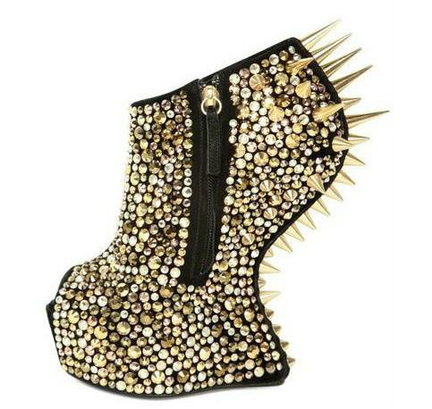 crazy lady gaga platform no heel shoes spikes rivet ankle boots gold swarovski crystal online. Black Bedroom Furniture Sets. Home Design Ideas