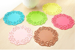 Wholesale Sweet Silicone Cup - hot selling Homeware Hollow Sweet Coasters Lovely Silicone Bowl Pad Flower Cup Pad