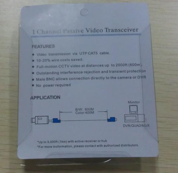 CAT5 CCTV Camera BNC Video Balun Transceiver Cable Network No power required